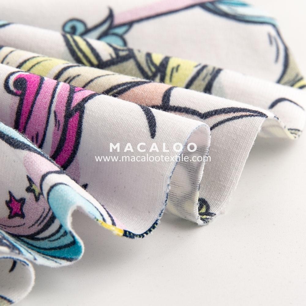 High Quality Unicorn Pattern Cotton Jersey Knit Digital