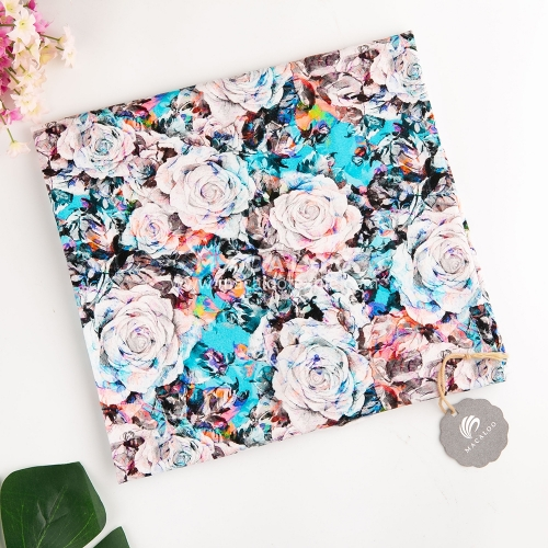 Floral digital printing 95 cotton 5 spandex lycra fabric