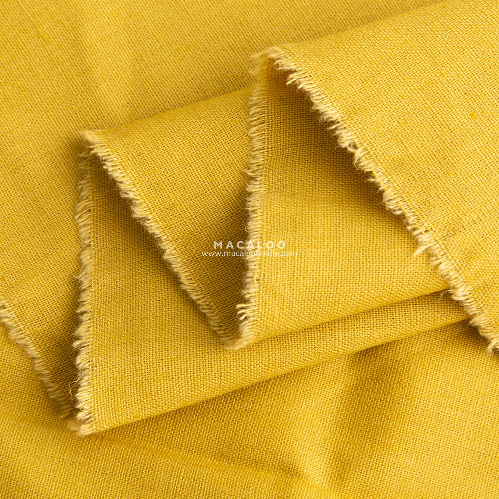 Japanese fabric yellow linen fabric by the yard