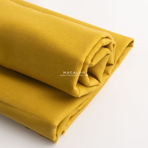 Solid mustard linen cotton blend fabric