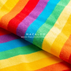 Rainbow yarn dyed cotton lycra stripes fabric
