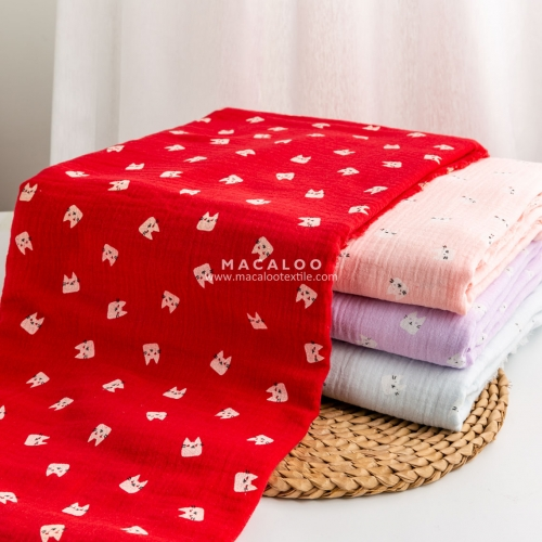 Wholesale 100% cotton crinkle double muslin fabric