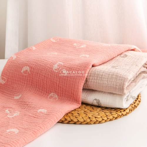 Hedgehog print double gauze fabric with 10 color