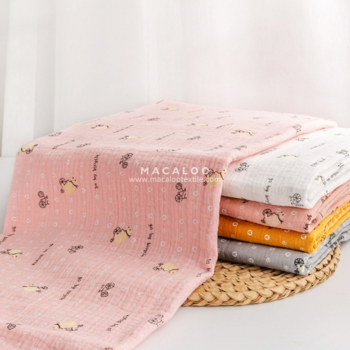 Wholesale printed sand wash double gauze fabric