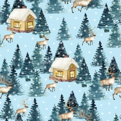 Christmas pattern printed cotton muslin double gauze fabric for baby