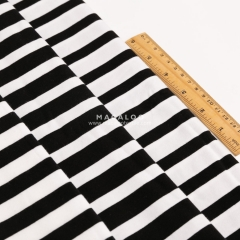 Black and white cotton yarn dyed lycra fabric