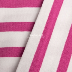 Pink and white yarn dyed feeder stripe knitted cotton spandex fabric