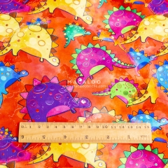 Digital printed cotton spandex fabric with colorful dinos