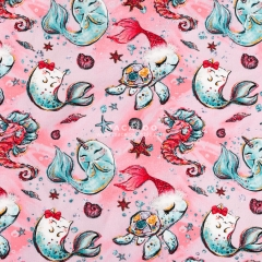 Christmas customize printed cotton knitting stretch fabric