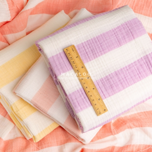Color stripes 100% cotton crinkle double gauze fabric for kids