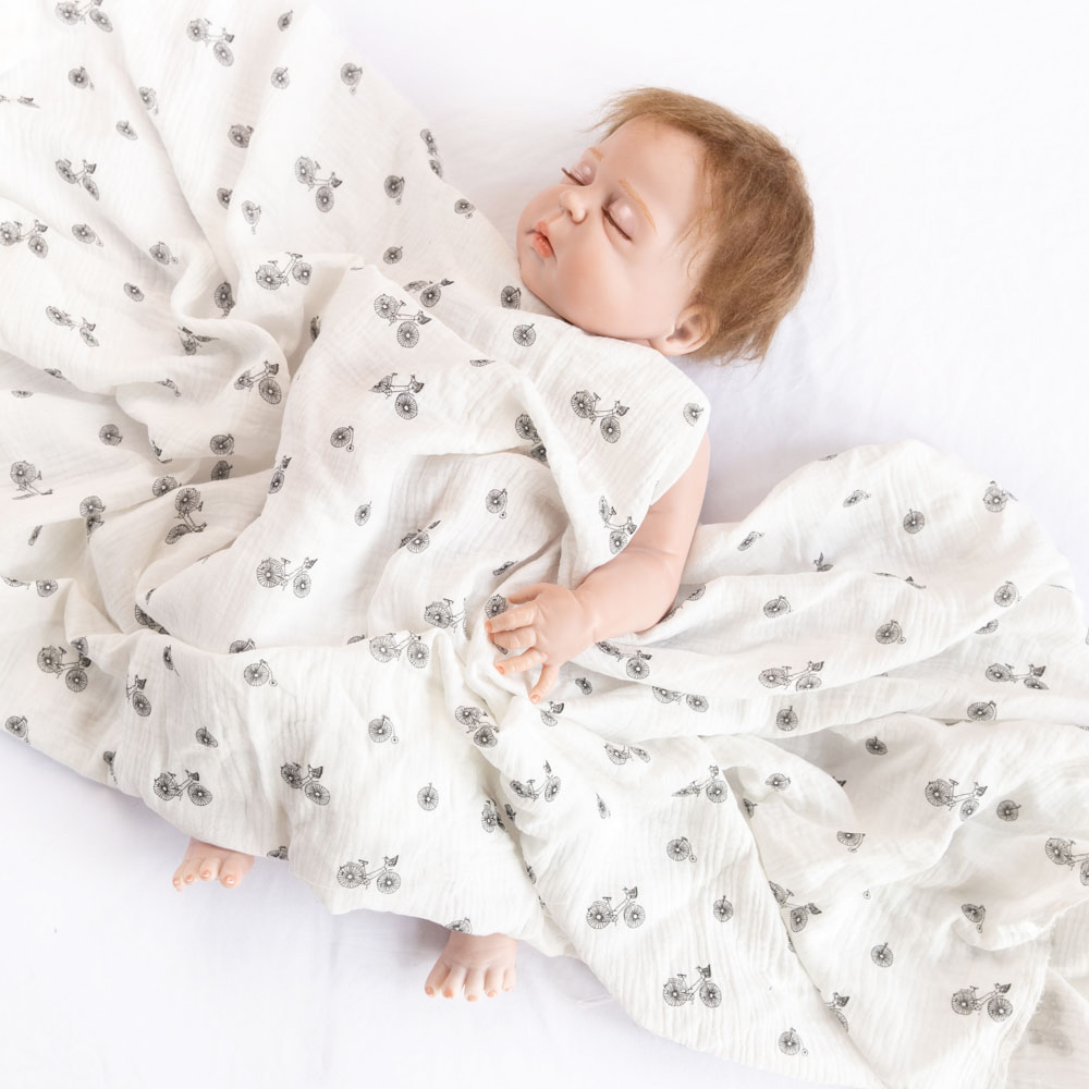 White fabric bicycle organic cotton print muslin baby