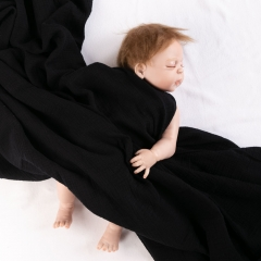 Plain dyed pattern modern black super soft 100% cotton blanket for babies
