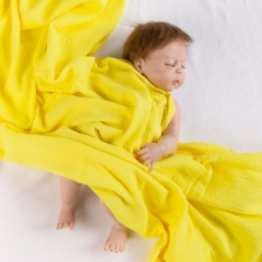 Solid crinkle 100% organic cotton baby muslin swaddle blanket