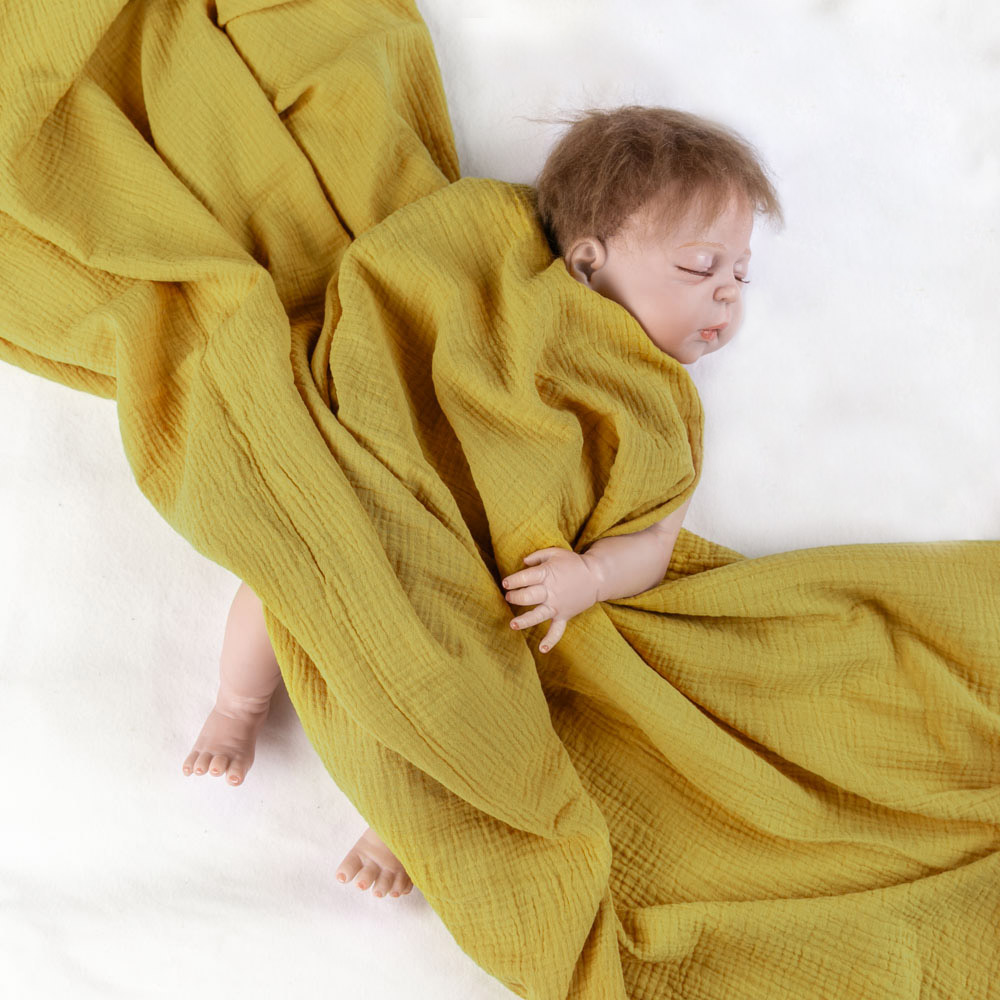 Super soft mustard lightweight natural cotton baby muslin wrap swaddle blanket for carseat cover