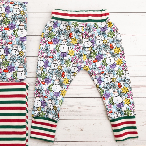 Quality assured stretch snowman printed knitted cotton baby sport pants