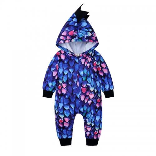Customizable scale hooded baby clothing knitted romper