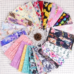 Reusable not disposable Low moq 3 ply digital floral print cotton woven fabric anti dust earloop Face Mask