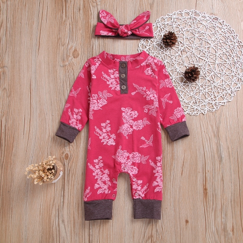 Printed pattern custom long sleeve clothes rompers for baby girls
