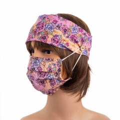 Sofe yoga sport head band floral custom digital printing ear saver knitted cotton headband with buttons for mask