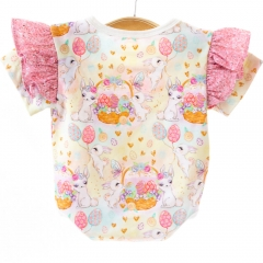Custom all over digital print super soft and smooth organic cotton ruffle sleeve baby girls jumpsuit romper