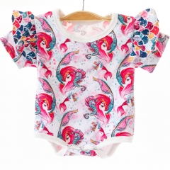 ECO friendly customized made good sewing organic cotton romper flutter short sleeve bodysuit for baby
