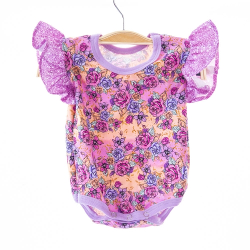 custom order super soft digital printing flutter sleeveless newborn baby girls clothes 100% cotton romper