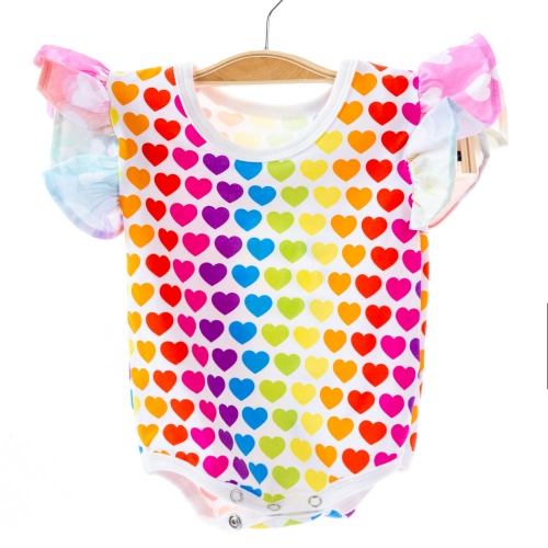Custom rainbow printed high quality sewing boutique baby girl shower gift ruffled sleeve 100% cotton baby clothes onesie