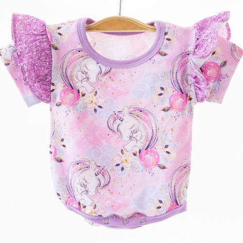 China garment factory excellent sewing and soft 95 cotton 5 lycra custom unicorn print newborn baby pajamas onesie