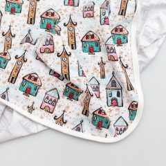 Great for car seat soft custom cartoon design digital printing newborn baby cotton blanket gift set