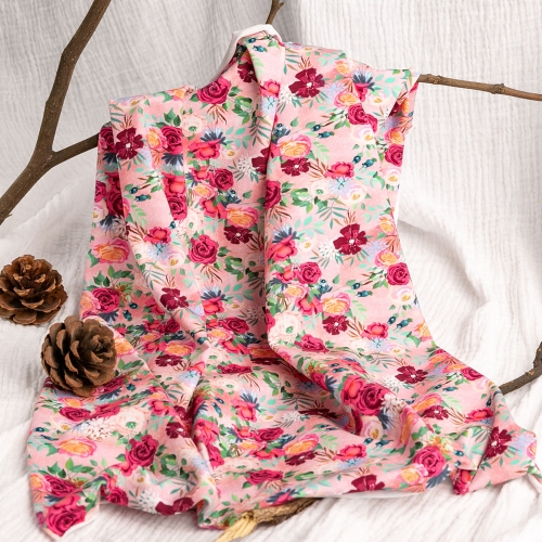 Beautiful quality rose accept custom design combed digital printing cotton knitted fabric
