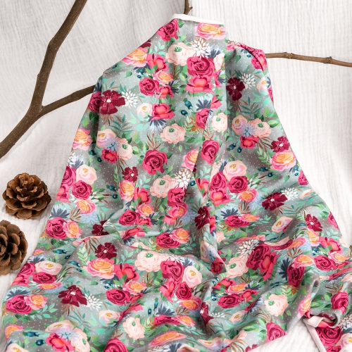 Excellent quality rose accept custom design combed digital printing cotton knitted fabric