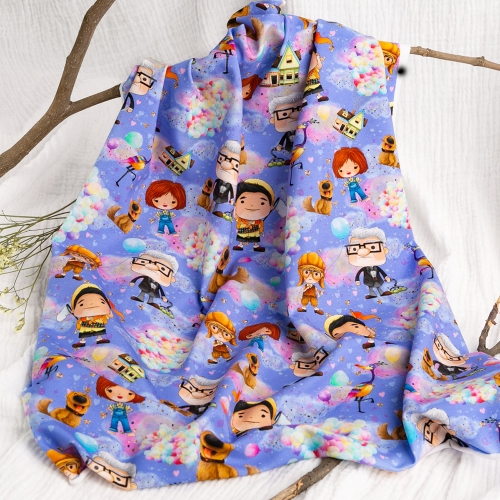 High quality fashion cartoon custom cotton lycra digital printing fabric for kids